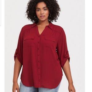 Torrid Harper georgette blouse in red